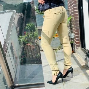 Lucky Brand Beige Zipped Patch Lo-Rise Pants Jeans